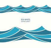 Marine seamless pattern with stylized blue waves on a light back. Ground. Water Wave abstract design Stock Photos