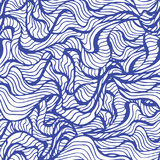Marine seamless pattern with stylized blue waves on a light background. Water Wave abstract design. Hand drawn seaweed pattern. vector Royalty Free Illustration