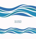 Marine seamless pattern with stylized blue waves on a light back. Ground. Water Wave abstract design Stock Image
