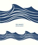 Marine seamless pattern with stylized blue waves on a light back. Ground. Water Wave abstract design Royalty Free Stock Photography