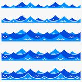 Marine seamless pattern with stylized blue waves on a light background. Water Wave sea ocean abstract vector design art. Marine seamless pattern with stylized royalty free illustration