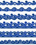 Marine seamless pattern with stylized blue waves on a light background. Water Wave sea ocean abstract vector design art. Marine seamless pattern with stylized vector illustration