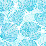 Marine seamless pattern with stylized seashells. Background made without clipping mask. Easy to use for backdrop Stock Photo