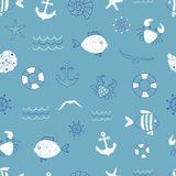 Marine seamless pattern. Vector sea background with cute doodle fish, anchor, seagull, crab. Can be used for wallpaper, kids textile, web page design Royalty Free Stock Photography