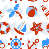 Marine seamless pattern. Vector seamless pattern with marine symbols Royalty Free Stock Photo