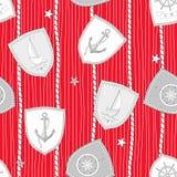 Marine seamless pattern on striped background.Vector illustration. royalty free illustration