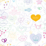 Marine seamless pattern. With yellow heart.  print Stock Photos