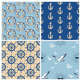 Marine seamless patterns. Collection. Sea and ocean retro navy backgrounds Stock Photography