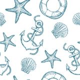Marine seamless patterns. Marine seamless pattern with seashell, starfish and anchor. Vector Stock Image