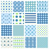 Marine seamless patterns Stock Photo