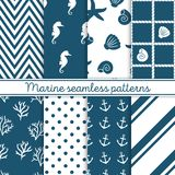 Marine seamless patterns set. Design elements for wallpaper, baby shower invitation, birthday card, scrapbooking, fabric. Backgrounds with anchors, seahorse Royalty Free Stock Photography