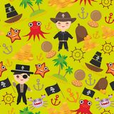 Marine seamless pirate pattern on green blue background. pirate boat with sail, gold coins crab octopus starfish island with palm. Trees anchor compass anchor Stock Photography