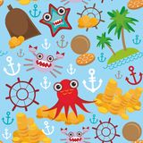 Marine seamless pirate pattern on light blue background. Vector Royalty Free Stock Photography