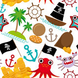 Marine seamless pirate pattern on white background. Stock Image