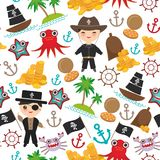 Marine seamless pirate pattern  on wite background. pirate boat with sail, gold coins crab octopus starfish island with pa. Lm trees anchor compass anchor helm Royalty Free Stock Images