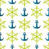 Marine Seamless Ship Steering Wheel bakgrund Arkivbilder