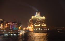 Marine & Seas. Cruise liner passing the istanbul karakoy, turkey royalty free stock photo