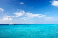 Marine seascape. Nice marine seascape with  sailers, Maldives Stock Photos