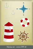 Marine set. Lighthouse, life preserver, anchor, wind rose Stock Image