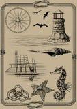 Marine set of attributes Stock Images