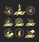 Marine set of badges Royalty Free Stock Image