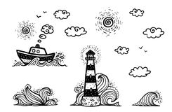 Marine set in cartoon doodles style: ship, lighthouse, waves, sun and clouds. Isolated on white background vector illustration