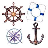 Marine set of elements for your design from the anchor, steering wheel and sea knots. Objects isolated on white background. Watercolor illustration Royalty Free Stock Photography