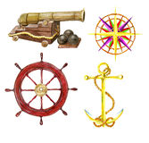Marine set. With the hand drawn cannon, wind rose, steering wheel and anchor Stock Images