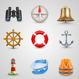 Marine set icons Royalty Free Stock Photography