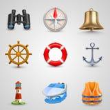 Marine set icons Royalty Free Stock Photography