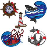 Marine Set of Illustrations Stock Photo