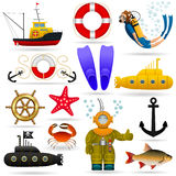 Marine set of objects and characters. Marine animals, water transport, equipment and people under water. Vector . royalty free illustration