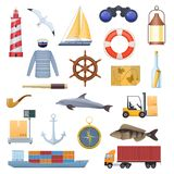 Marine set of objects, icons, logos. Travel, navigation, tourism. Sea adventure. Lighthouse, sailor`s clothes, sailboat, dolphin anchor ship symbols of compass Royalty Free Stock Photography
