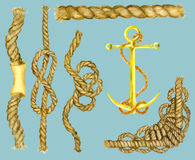 Marine set with ropes and anchor Stock Image