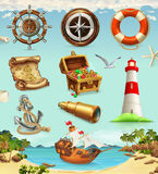 Marine set, summer vacation vector icons Stock Images