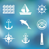 Marine set symbols Royalty Free Stock Images