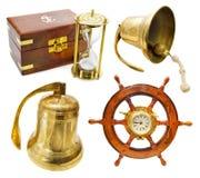 Marine set. Set with various nautical objects isolated on white stock photo