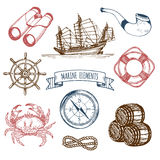 Marine set. Vector hand sketched sea illustrations. Vintage pirate adventures signs. Maritime design collection. Stock Photos