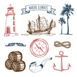 Marine set. Vector hand sketched sea illustrations. Vintage pirate adventures signs. Maritime design collection. Stock Image