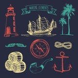 Marine set. Vector hand sketched sea illustrations. Vintage pirate adventures signs. Maritime design collection. Royalty Free Stock Image