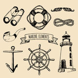 Marine set. Vector nautical elements. Hand sketched sea illustrations. Maritime design collection. Naval drawing series. Stock Photography