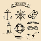 Marine set. Vector nautical elements. Hand sketched sea illustrations. Maritime design collection. Naval drawing series. Royalty Free Stock Photography