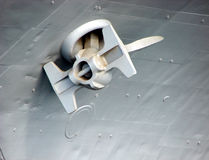 Marine Ship Anchor on Large Boat stock photography
