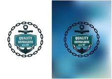 Marine shipbuilder label with chain, anchor and Royalty Free Stock Photography