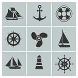 Marine and shipping icons. Boat, ship or yacht, anchor life buoy vector silhouette signs Stock Images