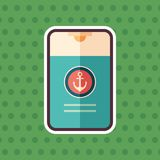 Marine shower gel sticker flat icon with color background. vector illustration