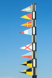 Marine signal flags in the port of Barcelona Royalty Free Stock Photos