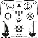Marine silhouette icons set. Black sign of nautical. Vector. vector illustration