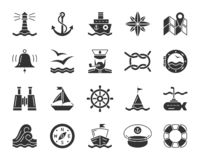 Marine black glyph icons vector nautical set vector illustration
