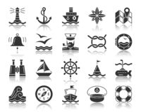 Marine black silhouette icons vector set stock illustration